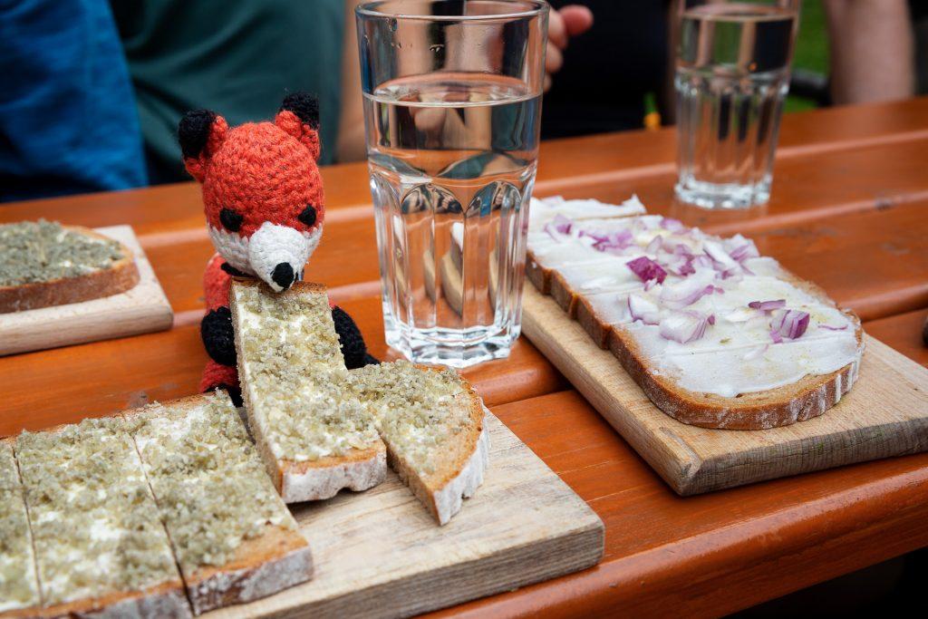 DIE FOTOFÜCHSE Foto Locations Salzkammergut. Lege auf der Zimitzalm eine stärkende Jausen Pause ein. Finn hilft dir gerne, wenn du nicht aufessen kannst.