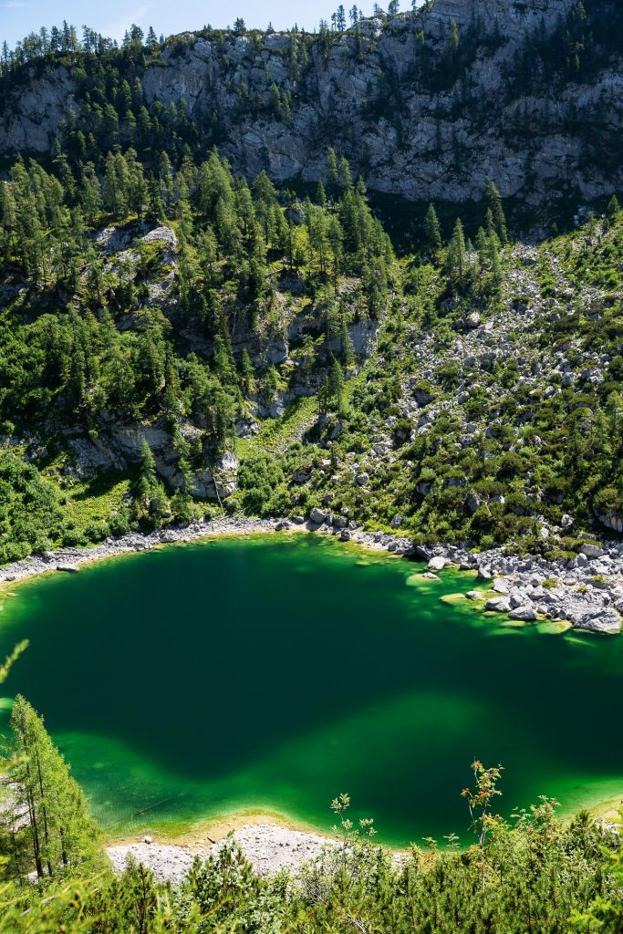 DIE FOTOFÜCHSE Foto Locations Salzkammergut. An einer Stelle am Weg zur Pühringerhütte hast du einen besonders schönen Blick auf den hinteren Lahngang See.